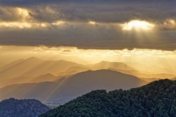 Türkei, Mugla, Blick vom Berg Bozburun Tepesi in den Morgen