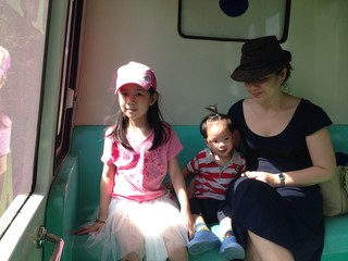 a family in the tram