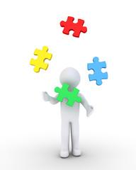 Person juggling puzzle pieces