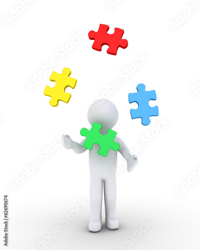 Person juggling puzzle pieces