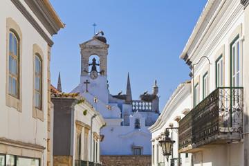Portugal, Faro, hocken Störche im Vogelnest auf Arco da Vila