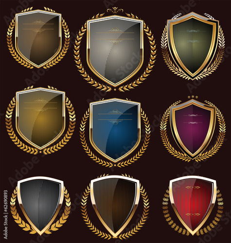 Shields with laurel wreath