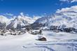 Schweiz, Blick auf die Berge mit Schnee bedeckt in Arosa