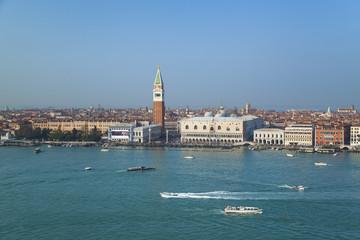 Italien, Venedig, Ansicht des Canal Grande, Markusturm und Hundepalast