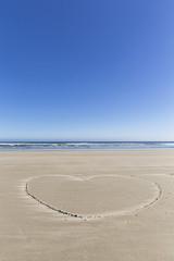 Kanada, Vancouver Island, Pacific Rim National Park Reserve von Kanada, Long Beach, Herz in den Sand