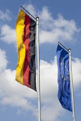 Deutschlandflagge und europaflagge