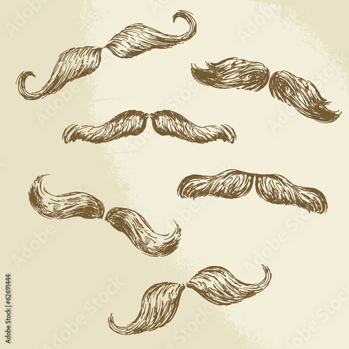 moustaches collection - hand drawn vector illustration