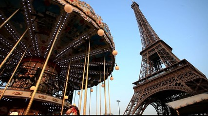 Merry go round in front of Eiffel tower in Paris
