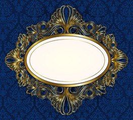 Blue ornament background with oval frame