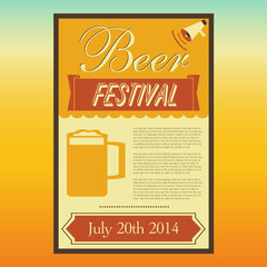 Beer Festival poster, Retro style, Vector illustration