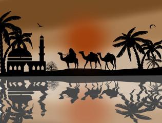 Bedouin camel caravan near water