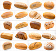 collage of different photos with breads isolated on white backgr