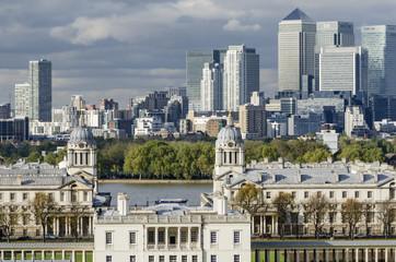 Großbritannien, Ansicht der alten Royal Naval College -und Finanzviertel