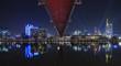 Deutschland, Frankfurt,  Ansicht Holbeinsteg und Skyline bei Nacht
