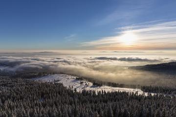 Deutschland, Bayern, Blick vom Gipfel des Großen Arber im Bayerischen Wald