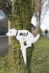Verbotsschild für Hundebesitzer am Baumstamm