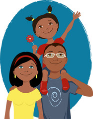 Happy cartoon family portrait