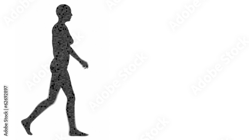 Silhouette of a woman filled with binary code.