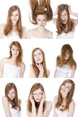 Junge Frau, die verschiedenen Gesichter