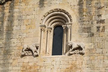 Detail of window in a church of Besalu medieval village