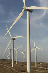 Spanien, Andalusien, Cadiz, Windkraftanlagen auf einem Feld