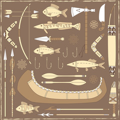 Native American fishing design elements