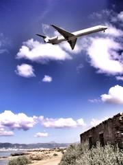 plane landing on the island