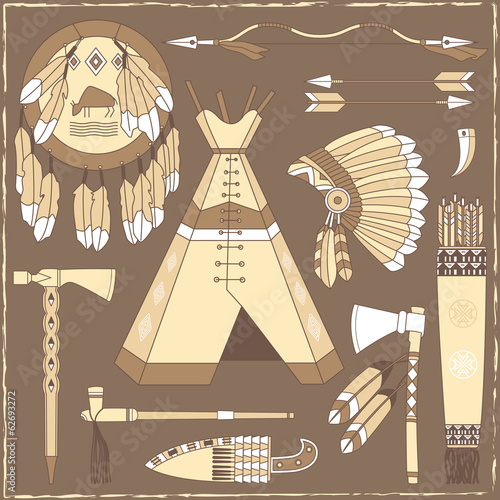 Native American hunting design elements