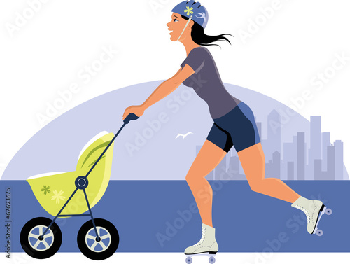 Young woman with a stroller roller skating