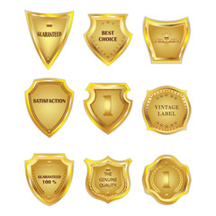 Set of golden vintagel design elements on white background.