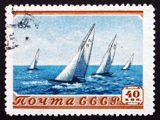 Postage stamp Russia 1954 Sailboat Race
