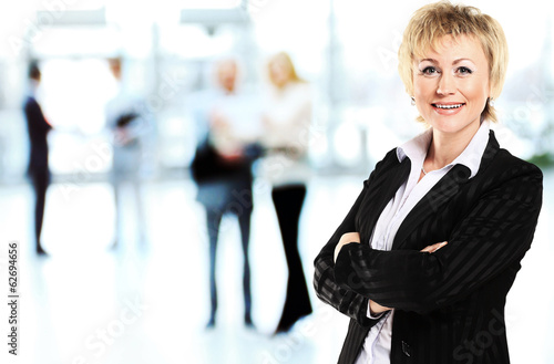 business woman in the office with copy space