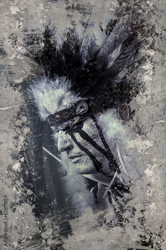 Fineart, American Indian warrior, chief of the tribe. man with f