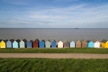 Beach huts along the coast in Kent