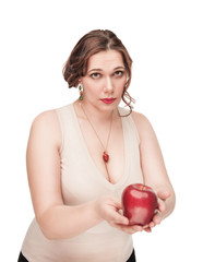 Beautiful plus size woman suggest apple