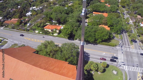 Church cross orbit aerial video