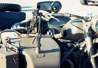 Machine gun mounted on the veteran sidecar