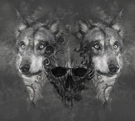 Wolf illustration with skull. Tattoo design over grey background
