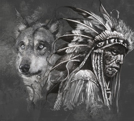 Wolf and american indian chief. Tattoo design over grey backgrou