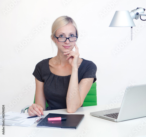 Business woman at work desk