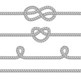 Fototapety Set of ropes with knots.