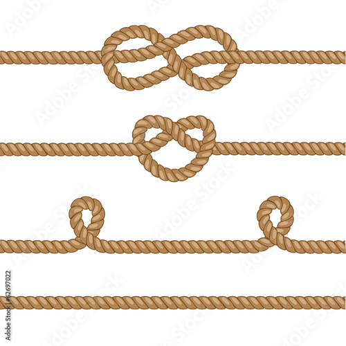 Set of ropes with knots. - 62697022