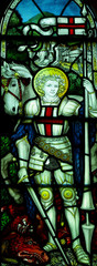 Saint George and the dragon in stained glass