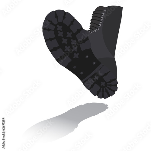 Foot soldier in military boots with shadow on white background