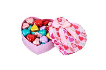 Heart chocolates in Heart Pink box