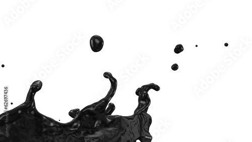 black paint splash in slow motion, alpha included (FULL HD)