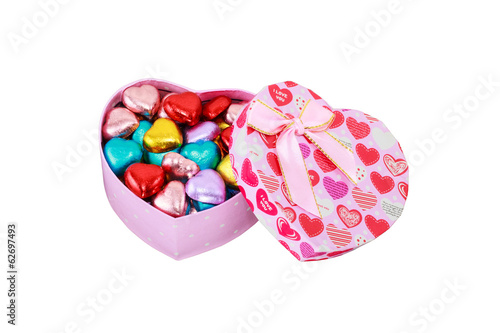 Heart chocolates in Heart Pink box