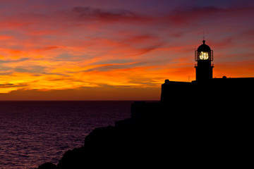 Lighthouse of Cabo Sao Vicente, Sagres, Portugal at Sunset