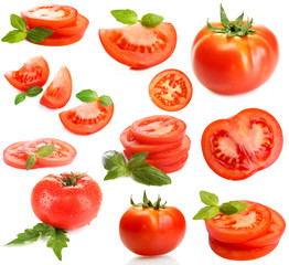 Tomatoes collage isolated on white