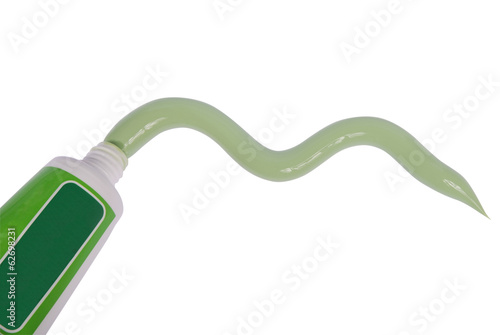 Green toothpaste and toothbrushes (clipping path)